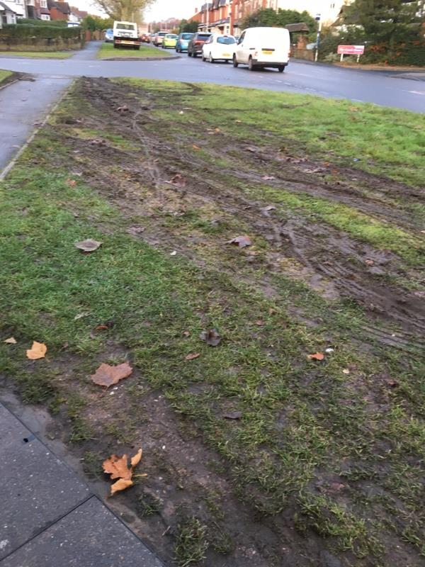 Mud bath created by vehicles parked on grass verges-2 Ward Road, Wolverhampton, WV4 5DL