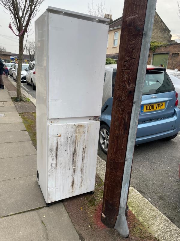 Dumped fridge freezer outside 27 park road. Dumped and left on pavement.  image 1-25 Park Road, London, E15 3QP