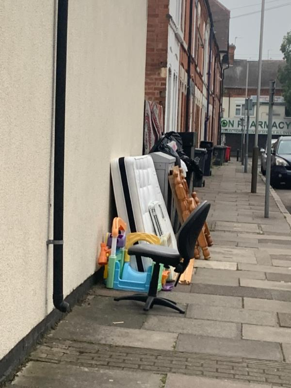 Saxon street.  Dumped bed. -63 Western Road, Leicester, LE3 0GE