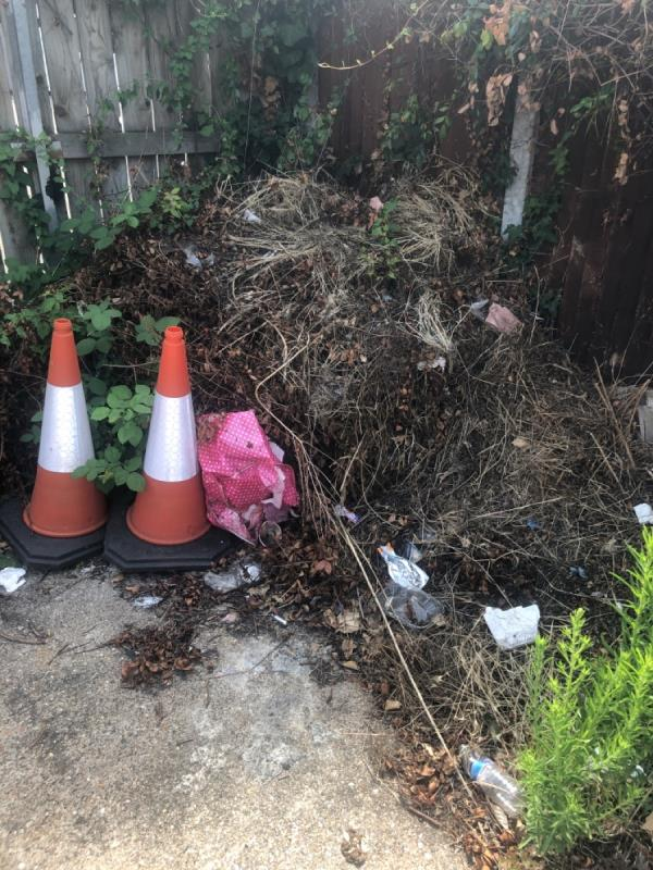 Garden rubbish and other items of fly toppers dumped in car park next to number 34 Sheerwater road e16-26 Sheerwater Road, Canning Town, E16 3SU