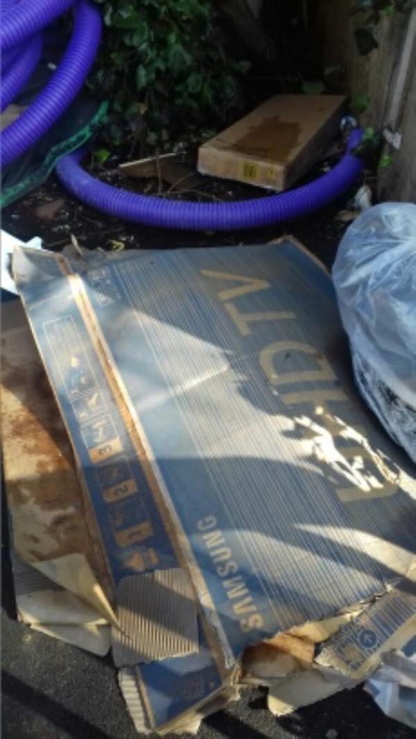 2 cardboard boxes and a bag of wastes dumped at the rear of 75 Khartoum Road -82 Dongola Road, London, E13 0AY