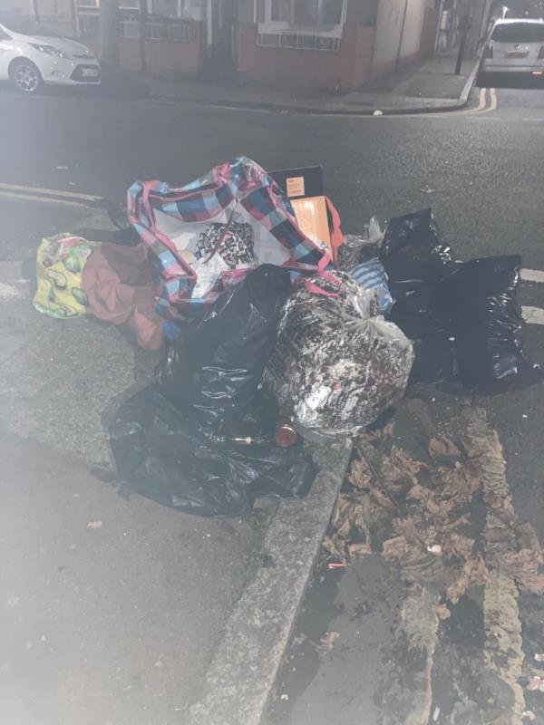 Rubbish bags piled high -178 Charlemont Road, London, E6 6AQ