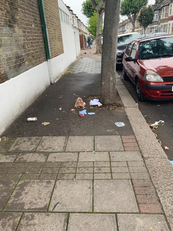 Burst bag of trash x 2 along road-98 Shrewsbury Road, London, E7 8QB