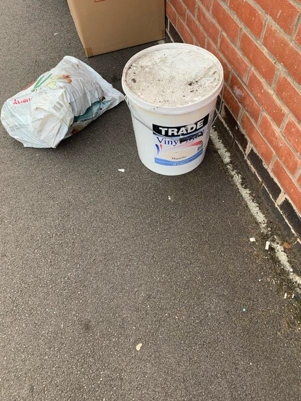 A large plastic drum of paint and a plastic bag with rubber inside that has been fly tipped over night can you please remove as concerned that children may open paint or substance this is located against the wall next to 14 Wordsworth Road -14 Wordsworth Road, Leicester, LE2 6EB