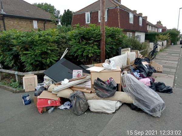 Multiple building waste, bed mattress, black bags, desk, light tubes -130 Grangemill Road, Bellingham, SE6 3LA