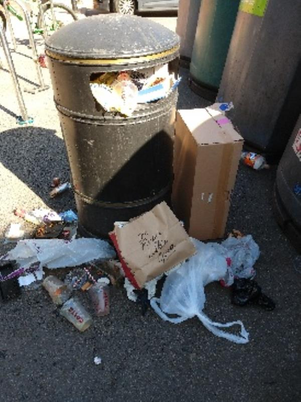 bin by bottle banks at Martin's prcinct-39a Church Street, Reading, RG4 8BA