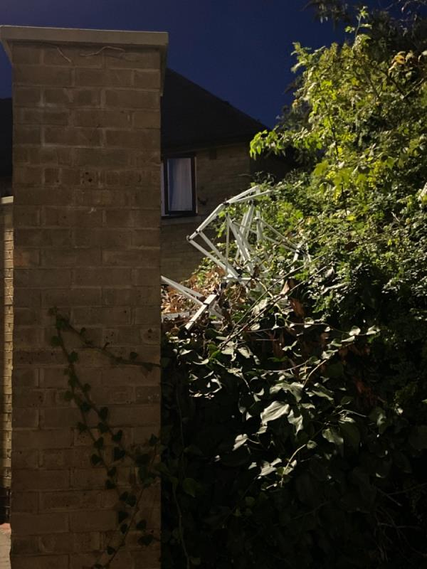 Frame of a garden gazebo shoved in the bushes end of West Mersea Close by the litter bin-7 West Mersea Close, Canning Town, E16 1UD
