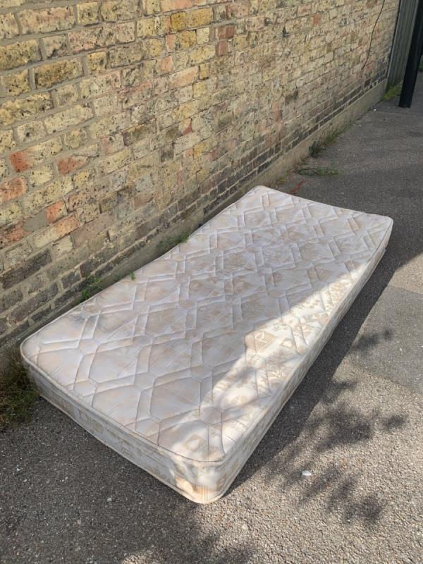 Discarded used mattress -13 Blashford Street, London, SE13 6UA