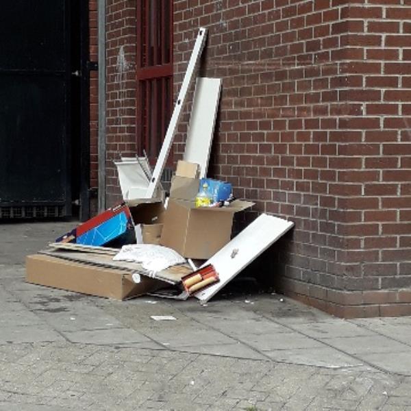 wood cardboard -64 Plashet Grove, East Ham, E6 1HA
