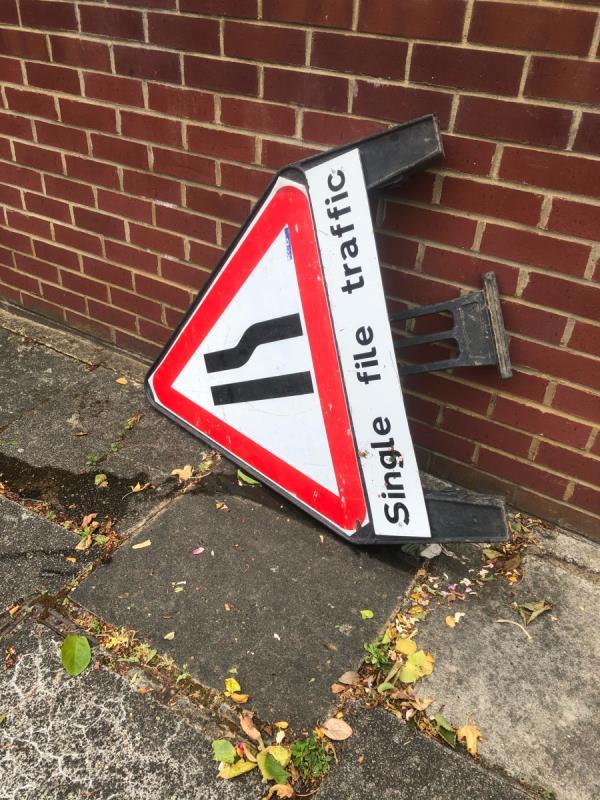 Lane closed triangular sign -6 Evelyn Grove, London, W5 3QG