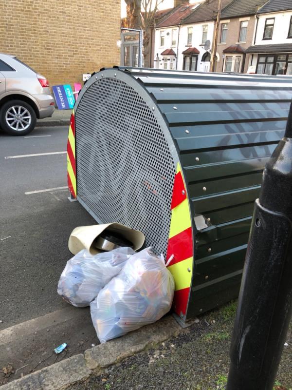 Rubbish by bike hangar -3 Spencer Road, East Ham, E6 1HH
