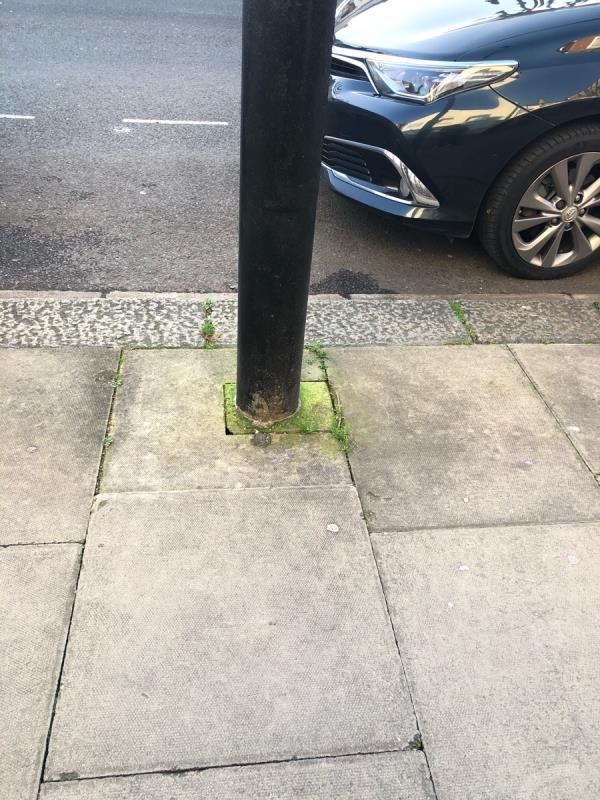 Uneven slab on the pavement. -51 Central Park Road, London, E6 3DZ