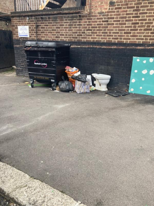Rubbish dumped on the corner of Beckton Road and Moana Street by Squires restaurant-53 Mona St, London E16 1HH, UK