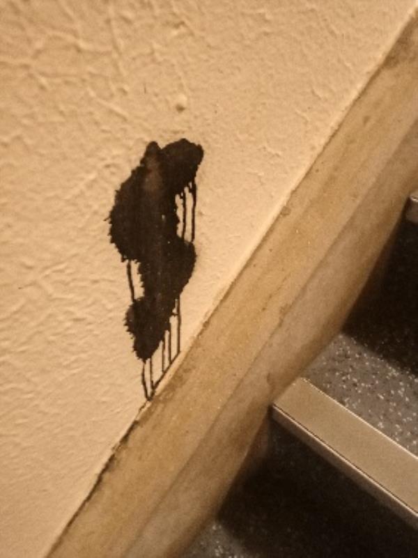 spray paint on stair A top floor-37 Gainsborough Road, Reading, RG30 3DA