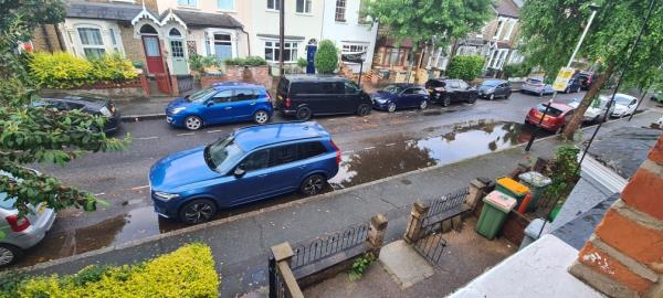 The road side drain is blocked below street lever and does not allow rain water to drain from street level. This will cause flooding in the current weather conditions unless it is cleared soon -13 Lorne Road, London, E7 0LJ