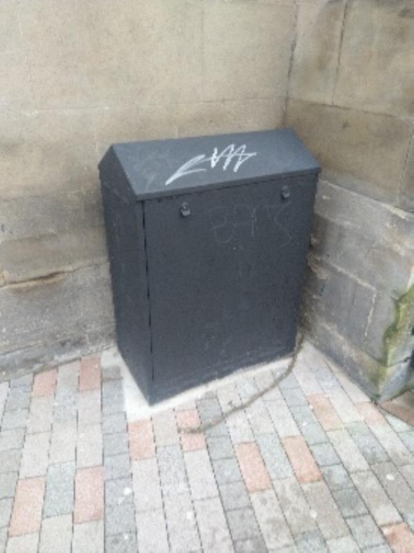 Graffiti on electrical box outside Buddha Bay King Street-The Hamptons 1a Wellington Street, Leicester, LE1 6RH