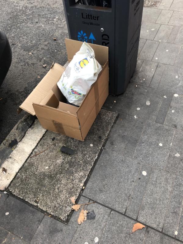 Dumped box and waste -190a The Grove, London, E15 1EN