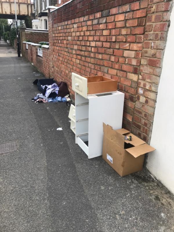 Suitcase and bedside locker abandoned-1 Latimer Road, London, E7 0LQ