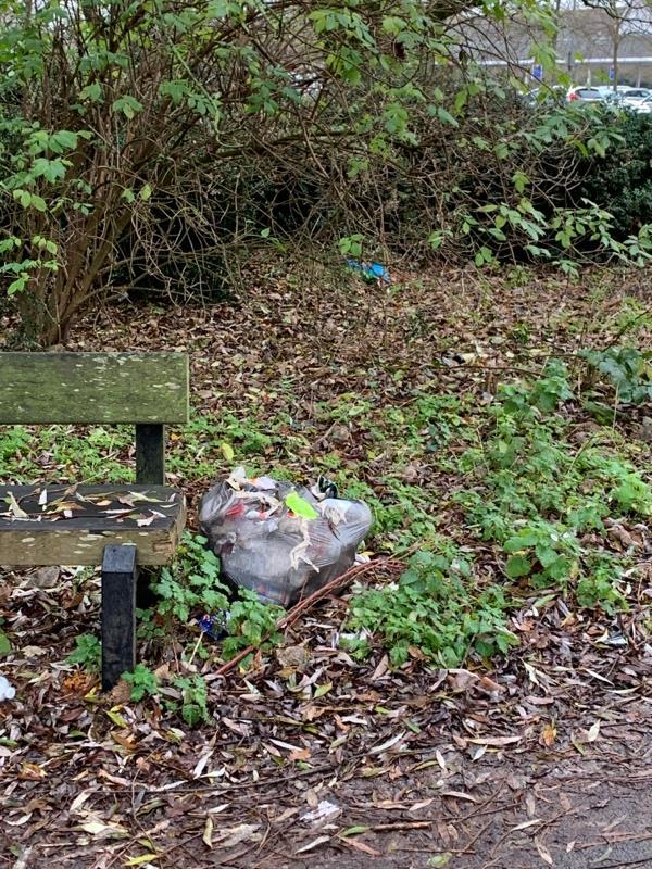 Bin bag dumped by bench near Tesco -184 Luscinia View Napier Road, Reading, RG1 8AG