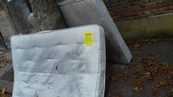 2 mattresses dumped at Ravenhill Road junction near 32 Walton Road -32b Walton Road, Plaistow, E13 9BP