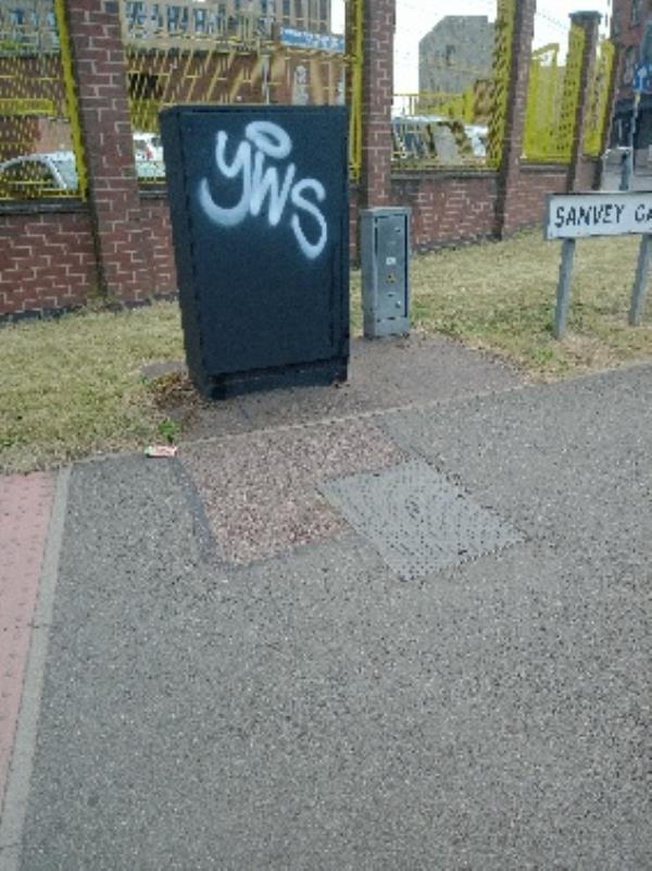 Graffiti on cabinet next to the space place-90 Sanvey Gate, Leicester, LE3 5DE