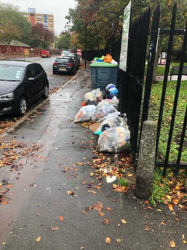 Again there is serious fly tipping and litter issue which is blowing down the street and across the road onto Upton Gardens. The bins are over flowing and not emptied regularly enough. These bins been to be removed!-Lyall House, 2 Priory Road, East Ham, E13 9DW