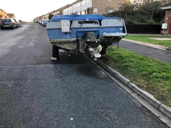 This boat appeared outside 87 and 89 The Rising yesterday, 1st December. There is no number plate on the trailer and it is partly parked on the verge. Somewhat ironically the boat is named 'Negative Equity'.-93 The Rising, Eastbourne, BN23 7TL