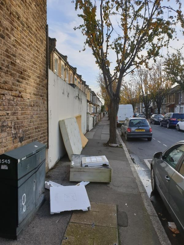 corner of upton Park Road and St Antony's. daily fly tipping. this time bed and mattress on one side and 2-3 black bags on another. there also seems to be a concrete block at the base of a tree. please can we install cameras here to catch the people doing this. the fly tipping is blocking the pavement meaning wheelchair users and buggy pushers have to venture onto the road to avoid.-67 Saint Antony's Road, London, E7 9QB