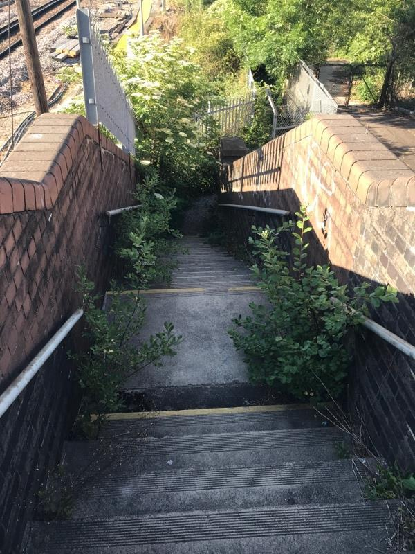 Railway Bridge which is public footpath over Gatwick railway line. From the A23 cycle lane to the south Terminal lower forecourt. Completely overgrown and not passable easy.  image 1-108 Perimeter Rd E, Horley, Gatwick RH6 0LD, UK