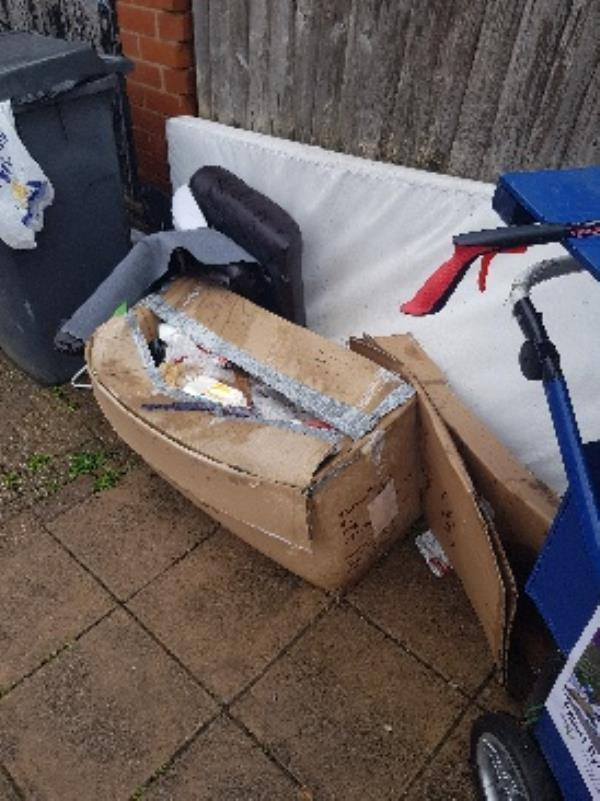 bolton rd, yet again!!! habitual fly tip. bins ALWAYS ON STREET - WHY???? back yards.-Store Rear Of 229 Hinckley Road, Leicester, LE3 6AD