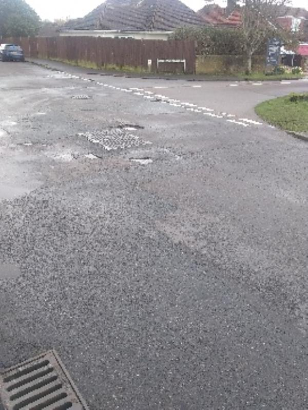 Vermont Drive continues to suffer problems with road conditions and potholes appear almost daily.  An old trench surface doesn't help-42 Vermont Drive, East Preston, BN16 1LG