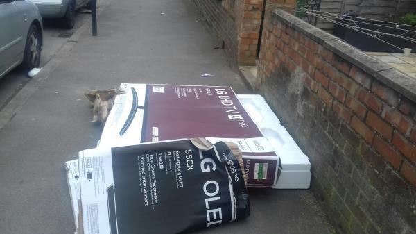 A big cardboard box dumped outside 4 Ripley Road E16 -6 Ripley Road, Canning Town, E16 3EA