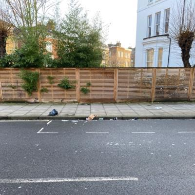 There seems to be a lot of litter across the entire road from after the bin collections yesterday -104 Buckingham Rd, London N1 4JE, UK