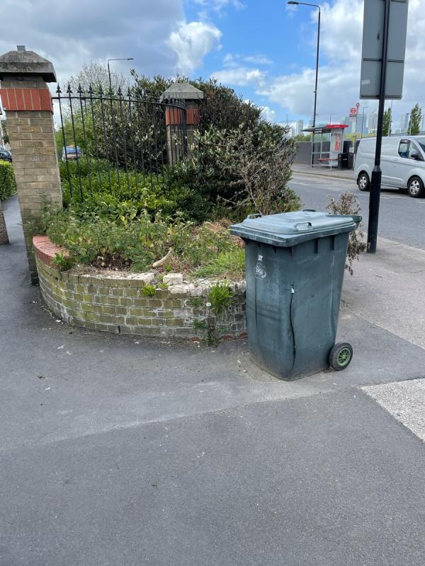 Abandoned rubbish bin full of rubbish-2 Godbold Road, London, E15 3AL