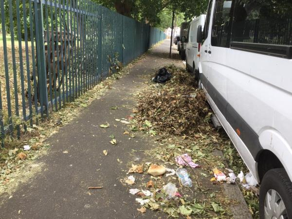 Large accumulation of leaves in pile opposite 151 gainsborough ave, near park side-151 Gainsborough Avenue, London, E12 6JT
