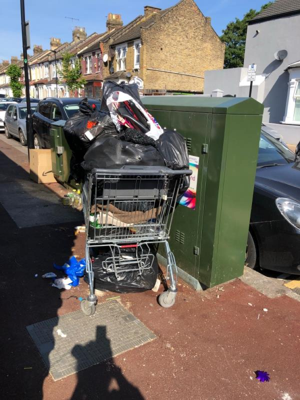 Rubbish keeps being dumped here can we not have posters to make this stop or cameras -110 Shakespeare Crescent, London, E12 6LP