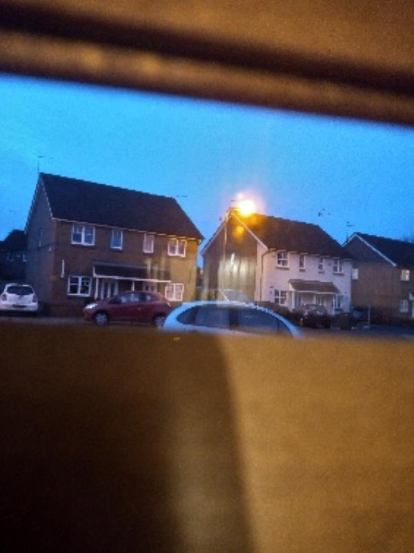 street light flicker/flashes on/off during dawn period, last quite a while. been doing it for years now.-22 The Chase, Wolverhampton, WV6 0WZ