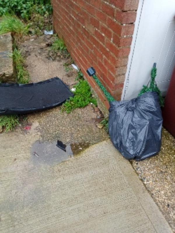 fly tipping comm garden of 82-92 Virginia way- left side of sheds-8 Courage Ct, Reading RG30 3QT, UK