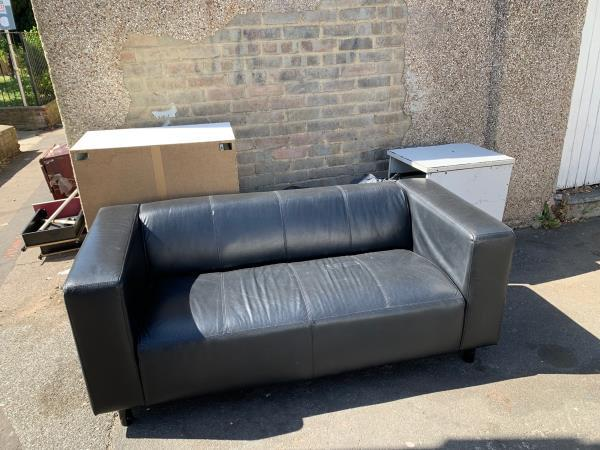Sofa (good quality) and various rubbish -1 Trevelyan Road, London, E15 1SU
