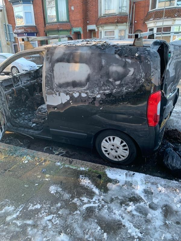 Burned out vehicle! I noticed it had been broken into a few days ago. Stolen?-Evesham House 390-392 Narborough Road, Leicester, LE3 2FR