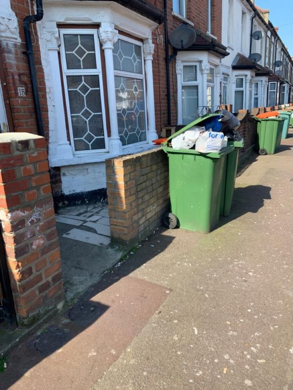 Flytipping. Reported to councillors. It's 15 Jephson Road. Look at picture of bin. It's overfilling.  image 1-65 Cromwell Road, London, E7 8PA