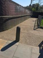 Many spray painted tags are located on a brick wall and underpass on Mandeville Road opposite Northolt Tube Station UB5  image 1-8 Badminton Close, London, UB5 4LT