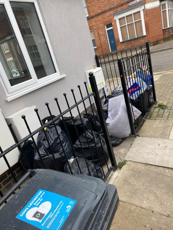 Rubbish discarded, regularly strewn across the road by a foxes or the weather -47 Saint Leonards Road, Leicester, LE2 1WT