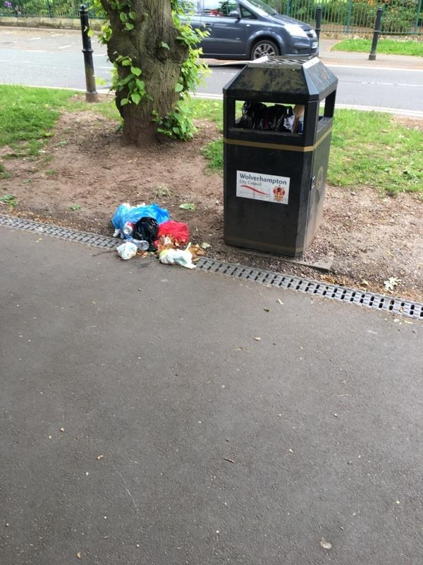 Filthy dirty nappies and other waste overflowing from bin-7 Devon Road, Wolverhampton, WV1 4BE