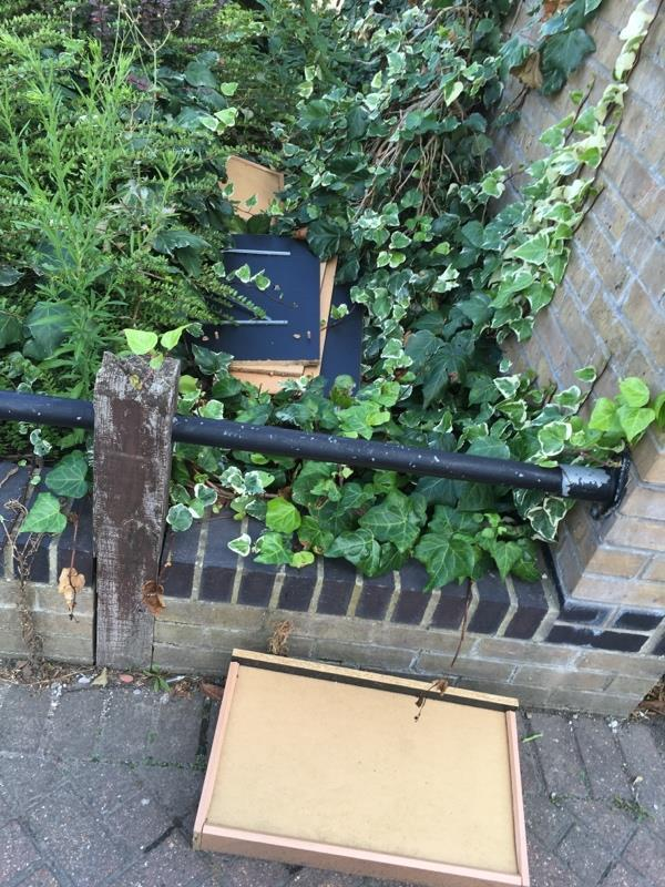 Fly tipping x 3 months worth not yet resolved - now more has arrived — Newham maintained flower bed   -43 Hanameel Street, London, E16 1UA