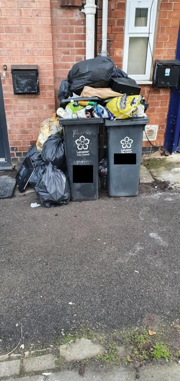 overflow of bins causing litter to blow everywhere and then leading to rats and other pest issues -112a Milligan Road, Leicester, LE2 8AE