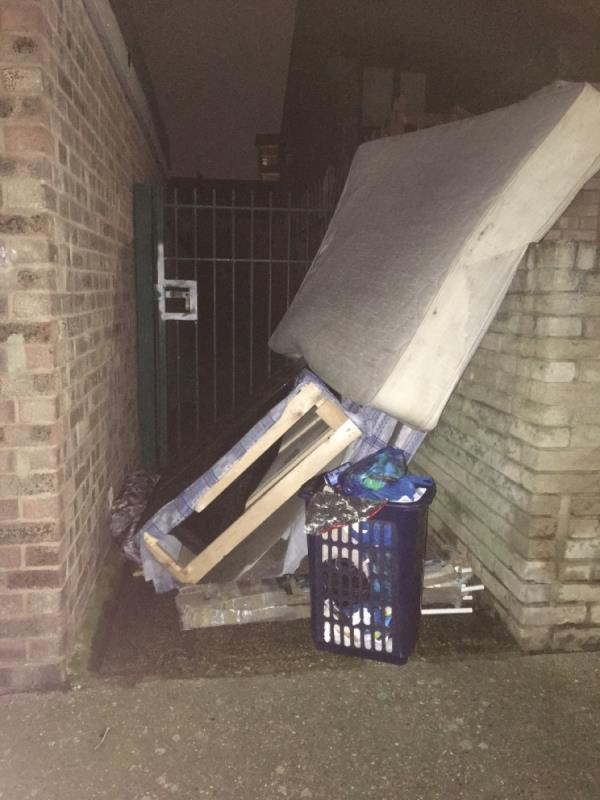 Bed and mattress and domestic waste blocking alley at rear of 37 Sandford Road. Again. -37 Sandford Road, London, E6 3QH