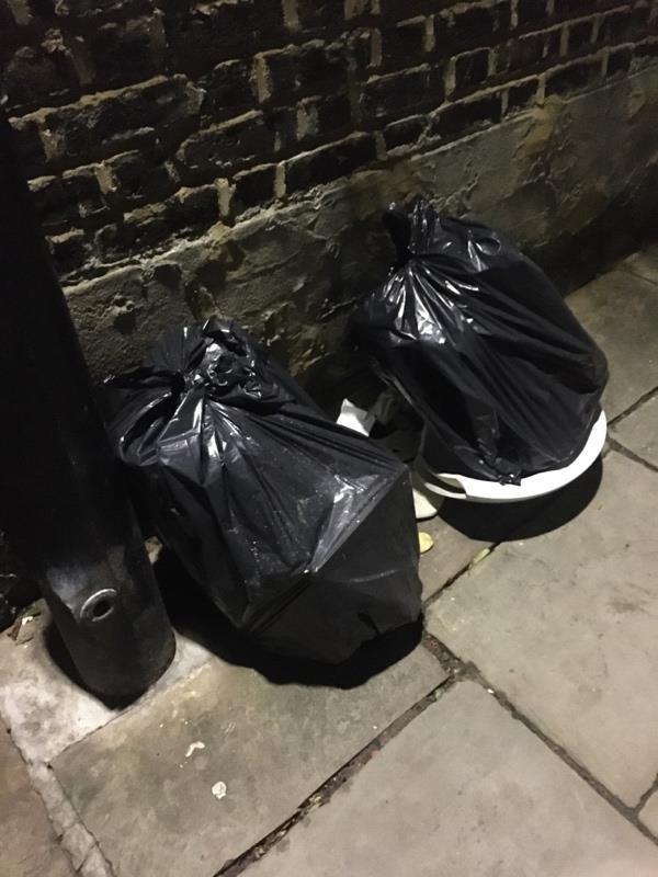 Dumped refuse on Harringay Passage-84 Allison Road, London, N8 0BS