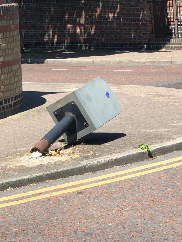 2 weeks ago I saw your dustcart reverse into this knocking it over.  People are now falling over it.  Please remove or repair -1 Stonechat Square, London, E6 5LQ