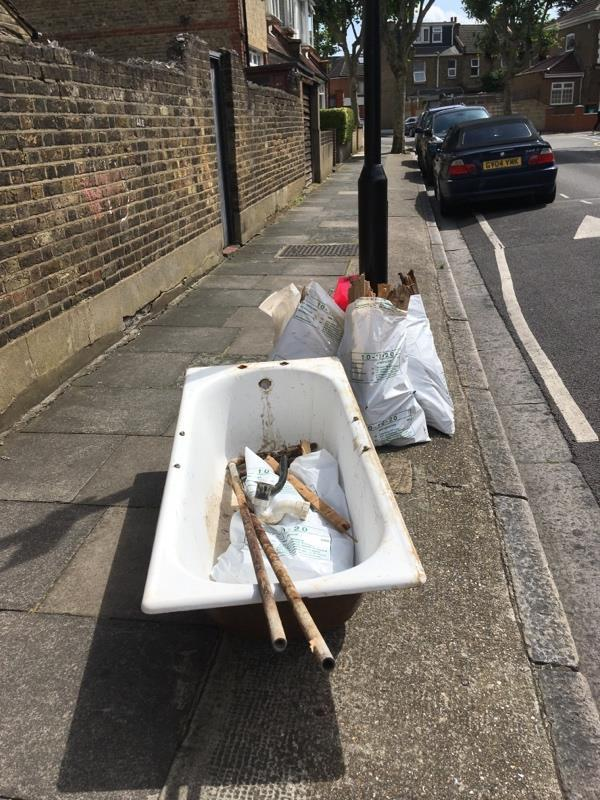 Fly tip on sandford road between 1.30 and 3 on 20/7. Some sharp dangerous items amongst the rubbish.-48 Pulleyns Ave, London E6 3LZ, UK